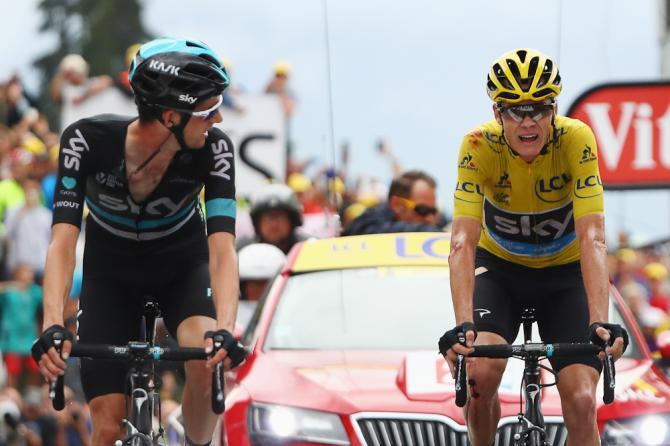 Chris Froome finishes stage 19 with Wout Poels