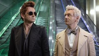A promo image for Good Omens, on Amazon Prime TV