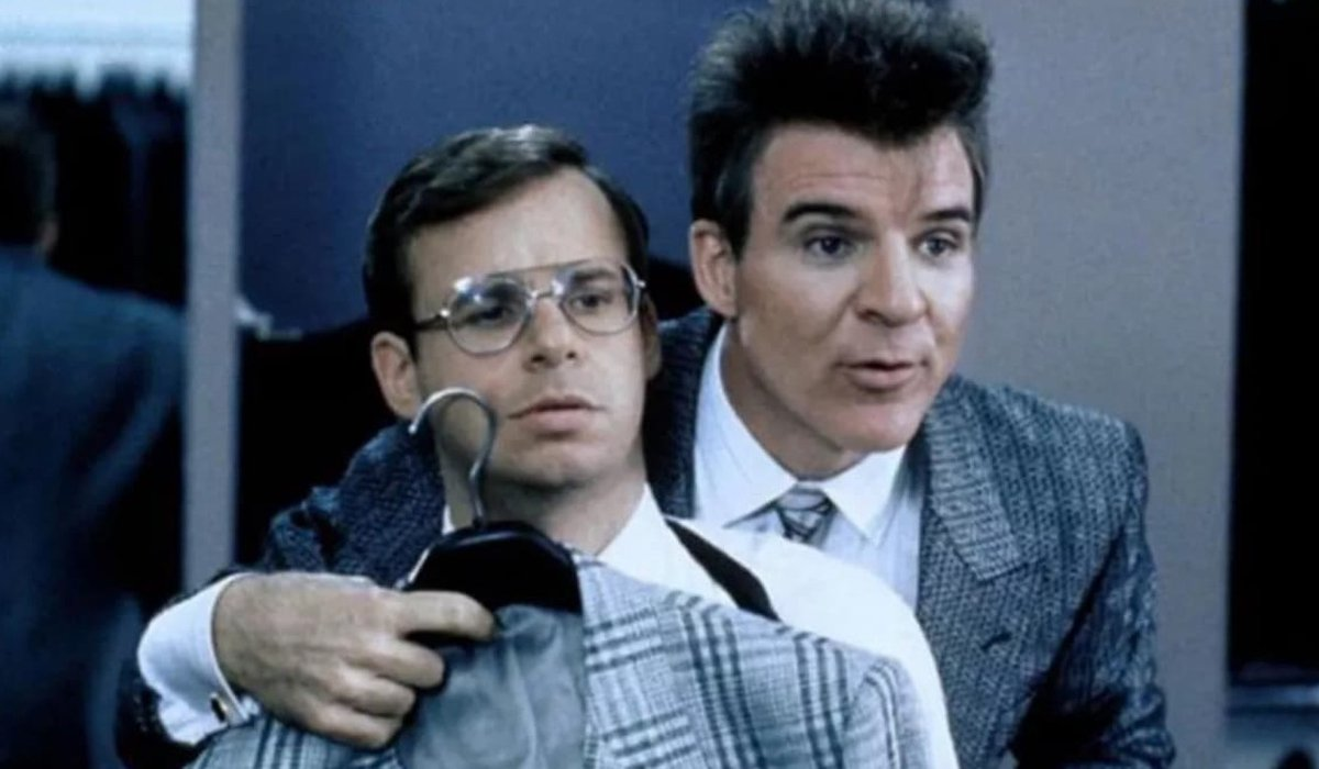 My Blue Heaven Steve Martin tries to size Rick Moranis up for a suit