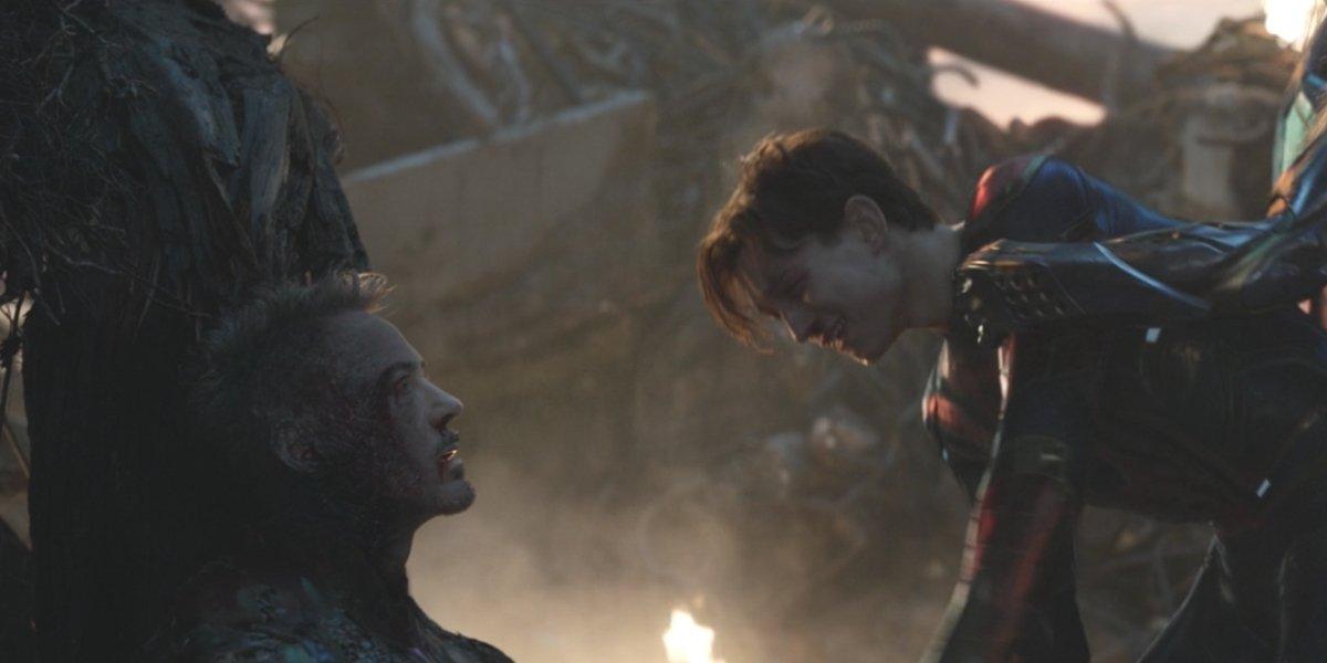 Robert Downey Jr. and Tom Holland in Avengers: Endgame