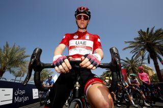 Tadej Pogacar in the UAE Tour leader's jersey