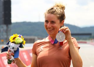 OYAMA JAPAN JULY 28 Marlen Reusser of Team Switzerland poses for a photograph with the silver medal after the Womens Individual time trial on day five of the Tokyo 2020 Olympic Games at Fuji International Speedway on July 28 2021 in Oyama Shizuoka Japan Photo by Tim de WaeleGetty Images