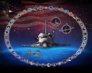 This illustration depicts NASA's space shuttle Discovery encircled by the mission patches from each of its 39 missions, from STS-41D to STS-133, to display its long legacy as NASA's most-flown orbiter. The shuttle is flying its 39th and last flight in Feb