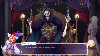 An image from adventure game Bard Harder. The charming bard protagonist is telling a skeletal wizard-king that their taste in interior decoration is fabulous.