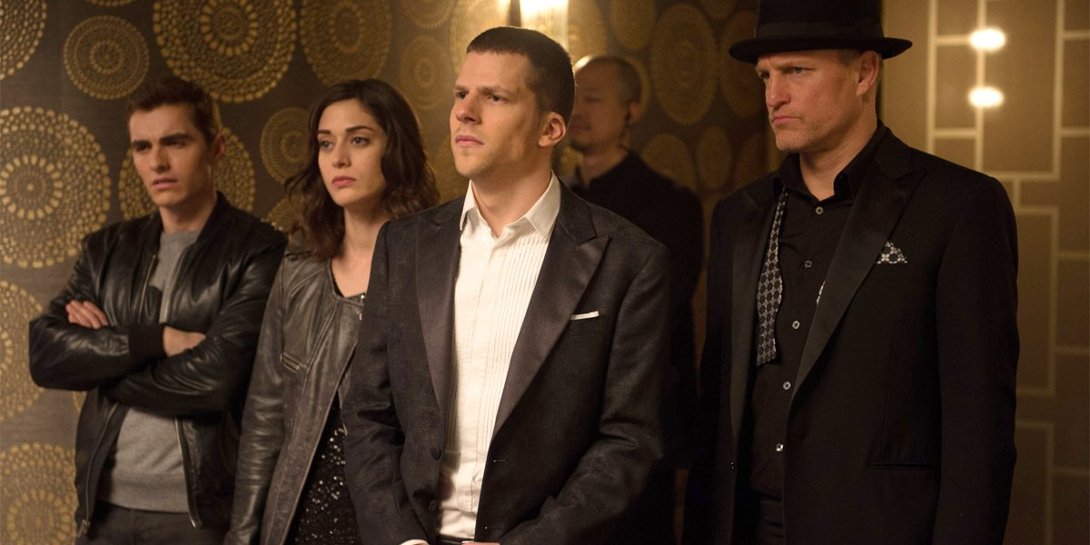 Dave Franco Lizzy Caplan Jesse Eisenberg and Woody Harrelson in Now You See Me 2