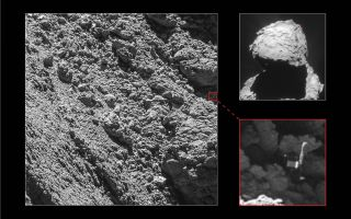 Philae (lower right) was found Sept. 4 in a shadowy area of Comet 67P/Churyumov-Gerasimenko, marked in the image at left. The context of the landing zone is shown at upper-right.