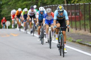 OYAMA JAPAN JULY 24 Wout van Aert of Team Belgium in the breakaway during the Mens road race at the Fuji International Speedway on day one of the Tokyo 2020 Olympic Games on July 24 2021 in Oyama Shizuoka Japan Photo by Tim de WaeleGetty Images