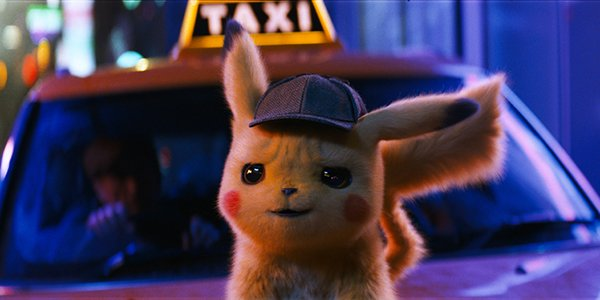 Pikachu in front of a taxi in Detective Pikachu
