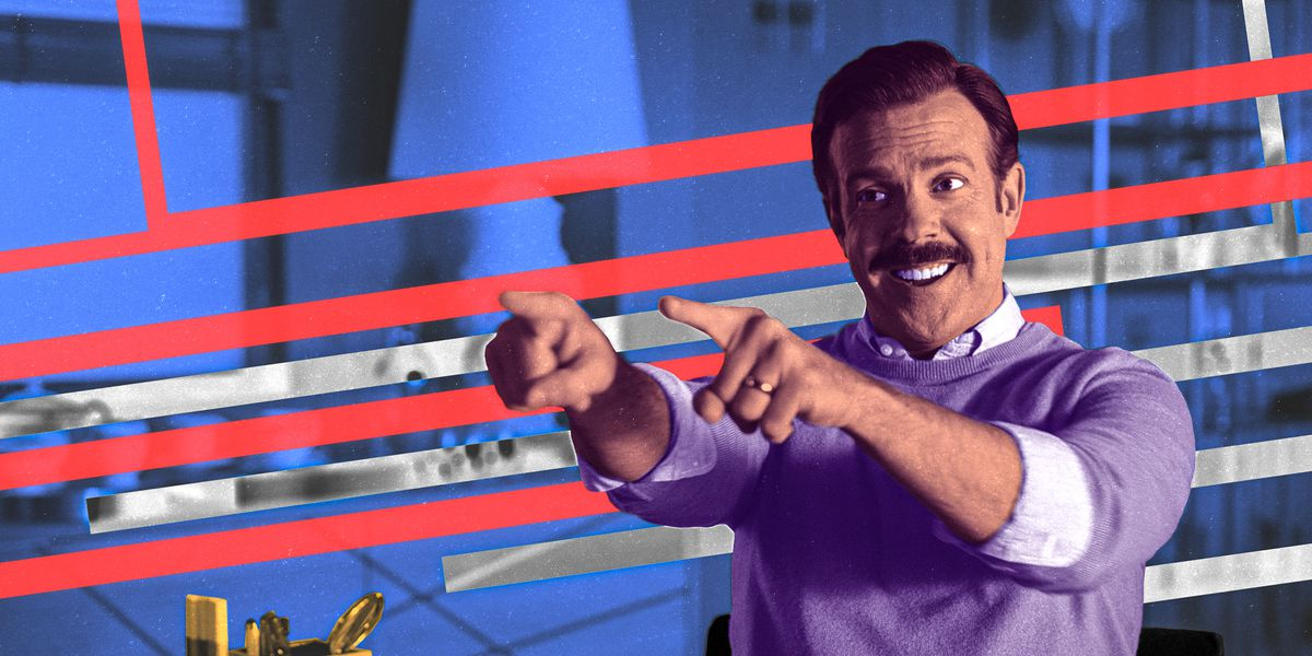 Jason Sudeikis as Ted Lasso in the titular show, Ted Lasso.