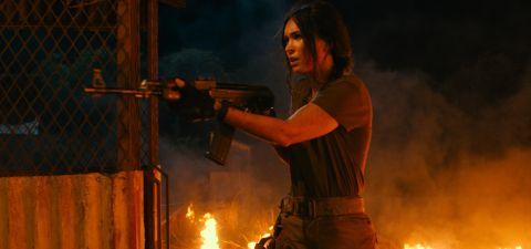 "Megan Fox battles a lioness in 'Rogue."""