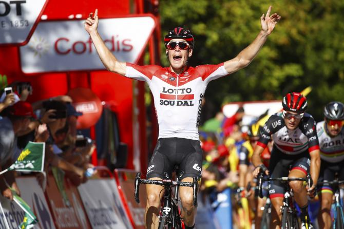 Jelle Wallays (Lotto Soudal) wins stage 18 of the Vuelta a Espana