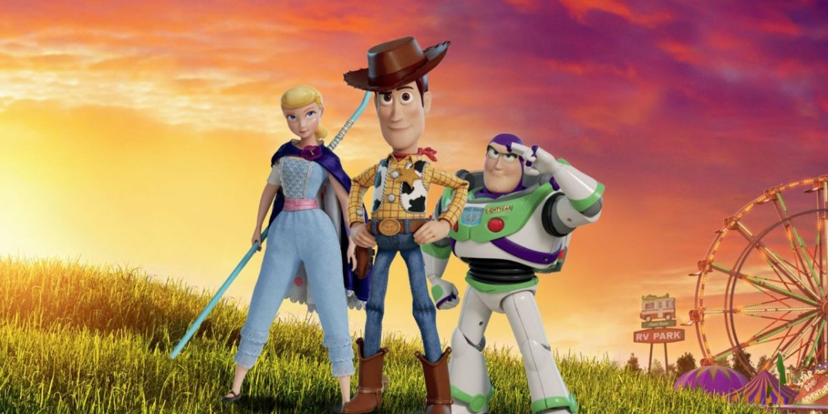 Toy Story 4 Bo Peep Woody and Buzz stand on a hill, as the sun rises on the fair