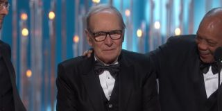 Ennio Morricone emotional during his 2016 Oscars win