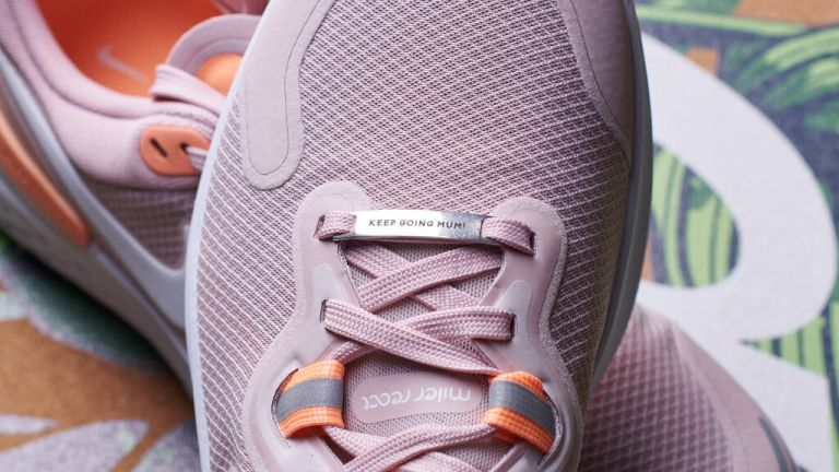 Gifts for fitness lovers: Oakdene designs Personalised Metal Shoe Tag on pink trainer