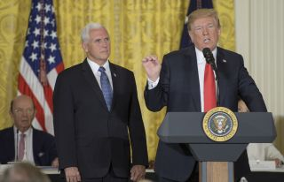 President Donald Trump ordered the Department of Defense to form a Space Force in remarks ahead of a National Space Council meeting at the White House on June 18, 2018.