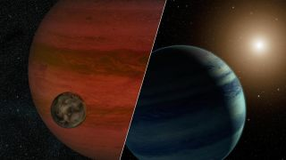 "Researchers have detected the first potential ""exomoon"" candidate, a moon orbiting an alien planet beyond our solar system. This artist's illustration shows a possible view of the exomoon (left) and a version of the system if it is actually a star and pla"