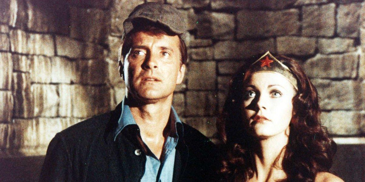 Wonder Woman and Steve Trevor looking off.