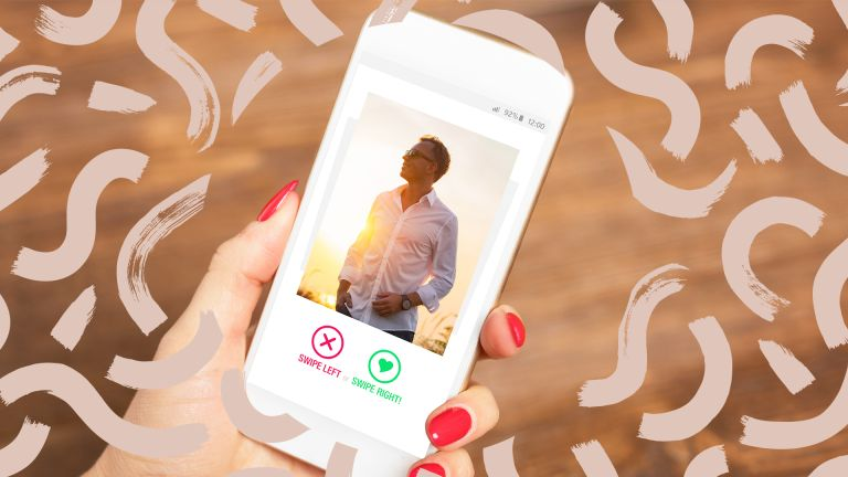 woman holding phone with man on dating app on screen