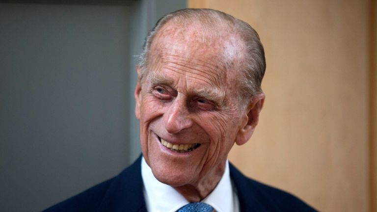 Prince Philip, Duke of Edinburgh, smiles after unveiling a plaque at the end of his visit to Richmond Adult Community College in Richmond on June 8, 2015 in London, England