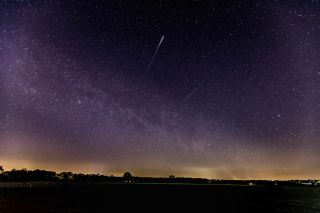 A Lyrid meteor lights up the sky over Schermbeck, Germany, on April 22, 2020.