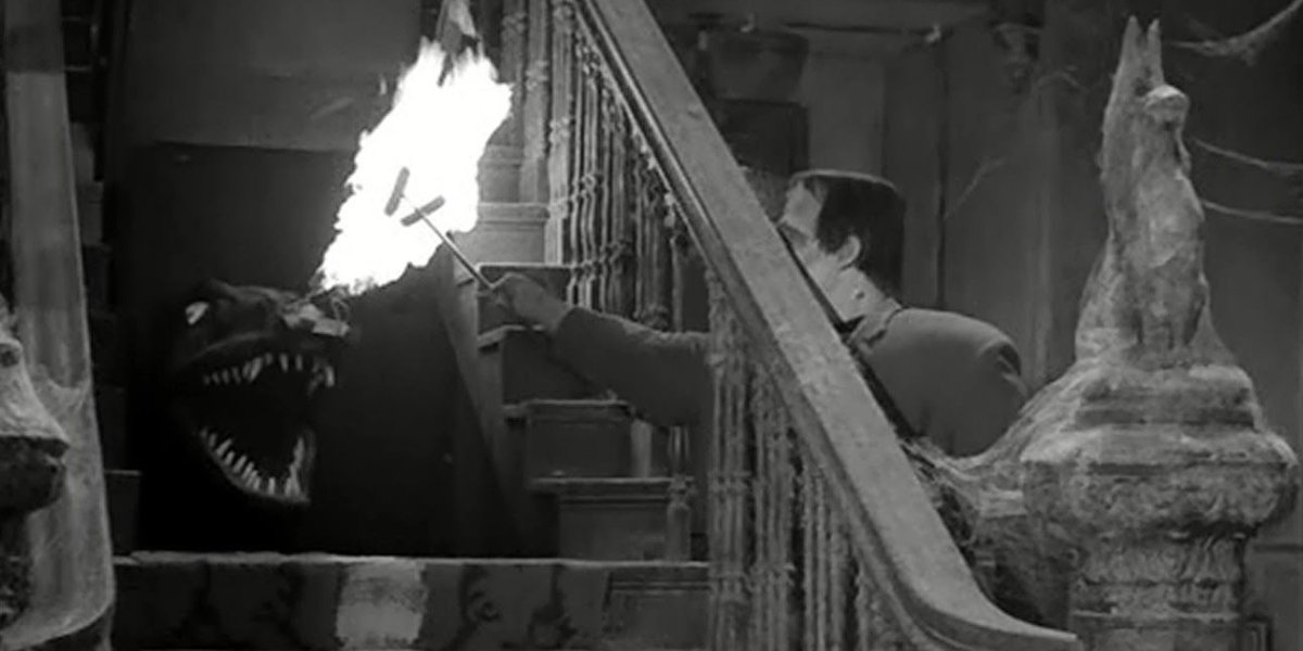 Spot and Fred Gynne as Herman Munster on The Munsters