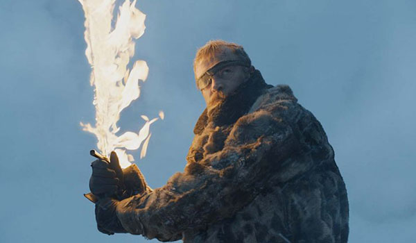 Beric Dondarion with his flaming sword, Game of Thrones