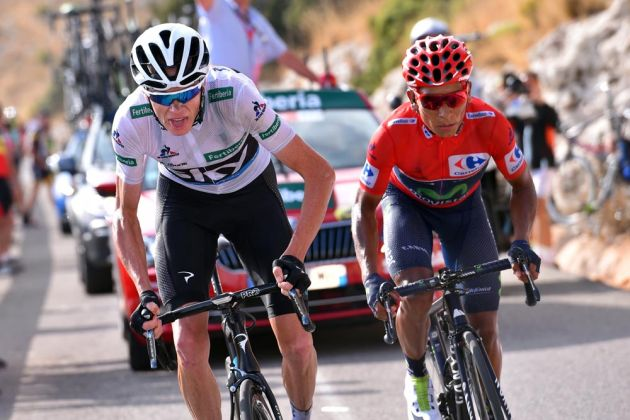 Chris Froome and Nairo Quintana on stage 20 of the 2016 Vuelta a Espana
