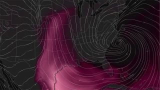 A weather model highlights the areas (seen in pink) where conditions will be most favorable for developing thunderstorms.