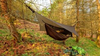 tarp stretched over a hammock