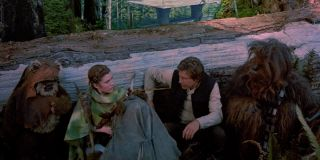 Wicket, Leia, Han Solo and Chewbacca in Return of the Jedi