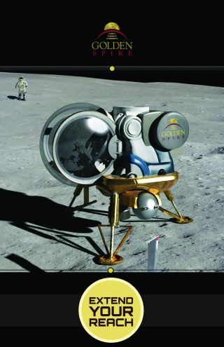 A Golden Spike Company moon lander on the lunar surface.