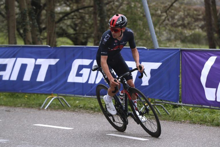 Tom Pidcock riding the 2021 Amstel Gold Race