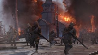 World War 2 soldiers flee from a burning church