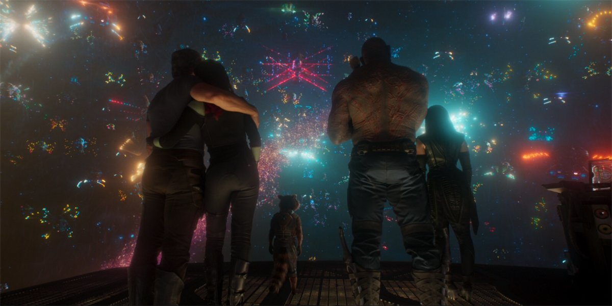 the Guardians of the galaxy watch the ravager funeral in Guardians of the Galaxy Vol. 2