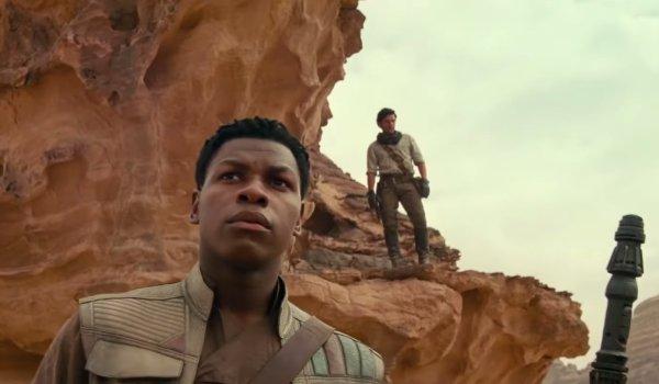Star Wars: The Rise of Skywalker Finn and Poe standing in the desert