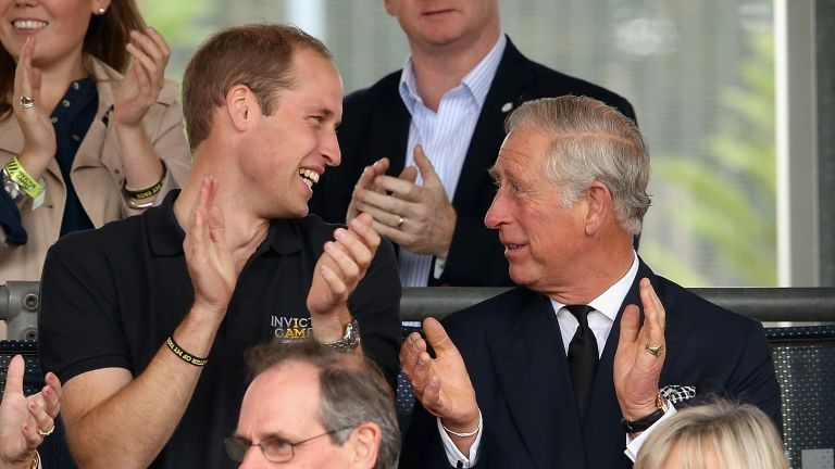 Prince Charles and Prince William share a joke