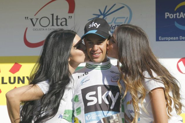 Photo: Richie Porte on the podium after retaining his overall lead on Stage 6 of the 2015 Tour of Catalonia . (cyclingweekly.co.uk)