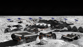 Artist's impression of OffWorld robots working in swarms on the lunar surface.