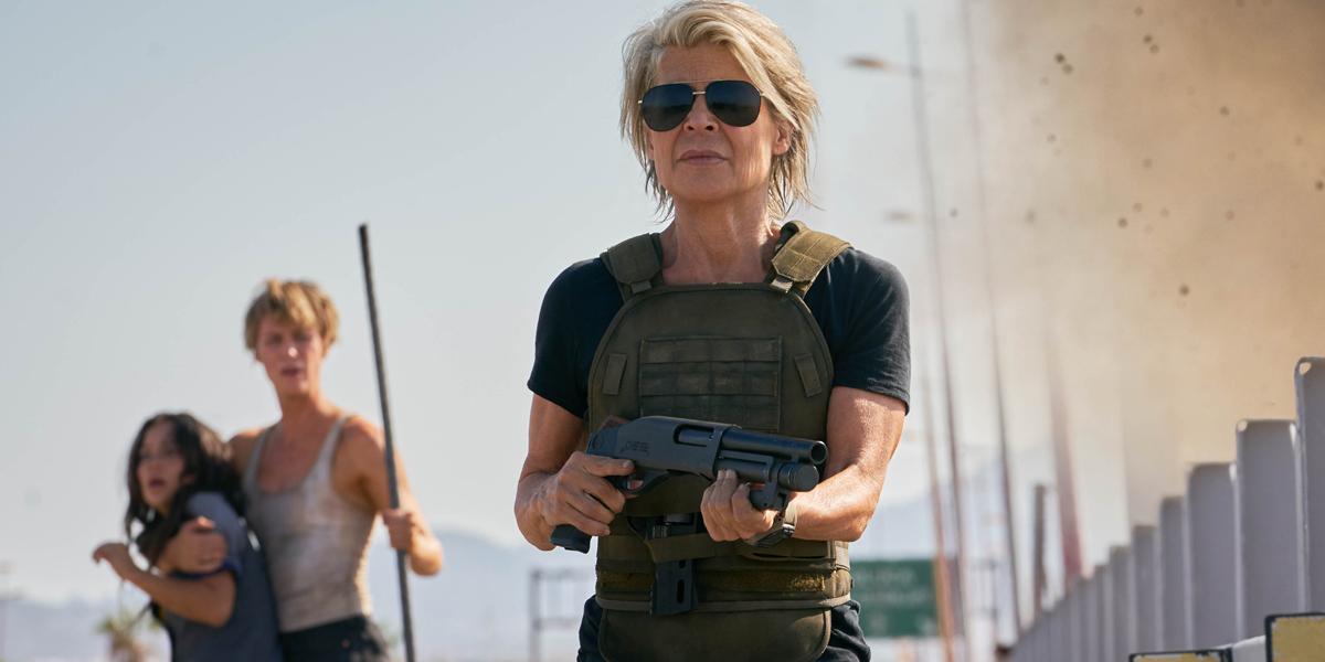 Sarah Connor Looking badass in Terminator: Dark Fate; or Linda Hamilton's sunglasses