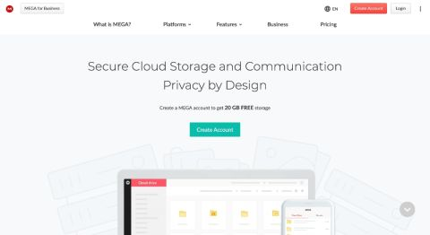 Mega's homepage