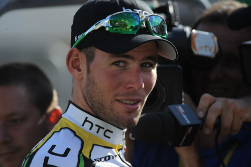 Mark Cavendish after winning stage 18, Andy Jones at the Tour de France 2010