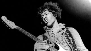 A picture of Jimi Hendrix on stage