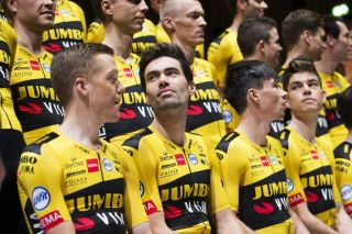 Netherlands Tom Dumoulin C and Steven Kruiswijk L and Slovenias Primoz Roglic R attend the presentation of Team JumboVisma cycling team at the HEMA headquarters in Amsterdam on December 20 2019 Photo by Vincent JANNINK ANP AFP Netherlands OUT Photo by VINCENT JANNINKANPAFP via Getty Images