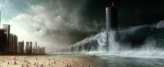 A giant wave swirls up to a beach and tall buildings