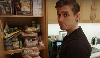 Queer Eye's Antoni Porwoski going through his pantry.