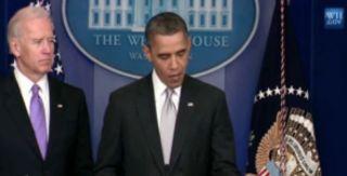Obama and Biden at gun press conference