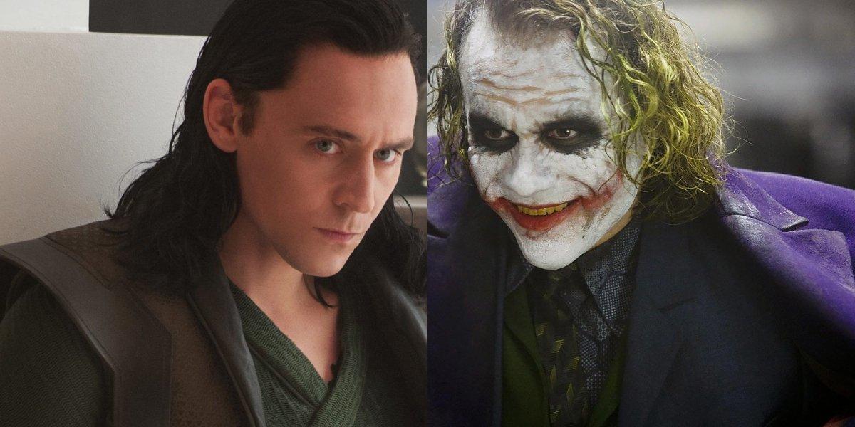 Tom Hiddleston as Loki and Heath Ledger as The Joker