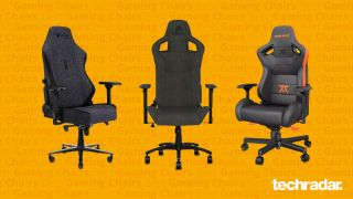 Three of the best gaming chairs on the market against a yellow backdrop