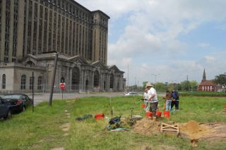 An archaeology excavation near Detroit's abandoned Michigan Central Station. The layers of the soil here held some surprising evidence of the past.