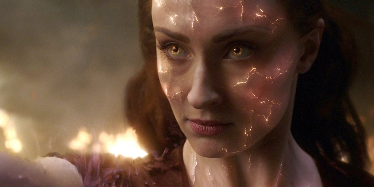 Sophie Turner as Jean Gray in her Phoenix state in X-Men: Dark Phoenix